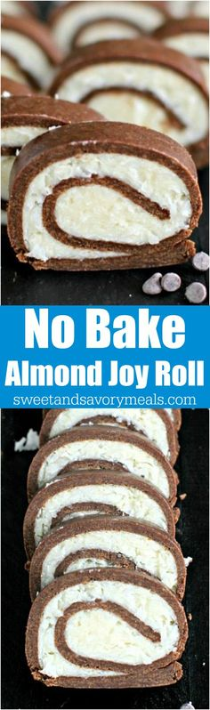 No Bake Almond Joy roll is dense, chocolaty and has a creamy, sweet and smooth coconut filling. Made with just a few ingredients in under 30 minutes. #nobake #coconut #almondjoy