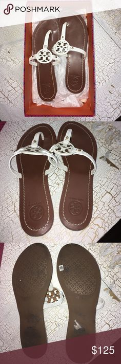 Tory Burch mini Miller sandals These are authentic Tory Burch sandals purchased from the website. Size 7.5. Only been worn a few times. I wish I could keep them, they're just a little big for me! Comes in original box. Tory Burch Shoes