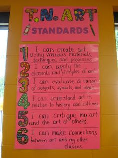 Display state standards in kid friendly terms.  Ms. Motta's Mixed Media: I'm Ready!!!!!