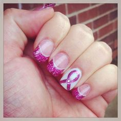Pink Cancer Ribbon Acrylic Nails Designs Glittery.          Have this design but in Purple for  Hodgkins Lymphoma for my mom.