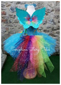 Turquoise Birthday Party Gala Dress With Bustle Tail. Sparkly Wings + Ears Are Optional Extras Rainbow Pony Tutu [. Blue Birthday, Unicorn Birthday, Unicorn Party, Birthday Tutu, Rainbow Birthday, Gala Dresses, Dresses For Teens, Rainbow Pony, Rainbow Tutu
