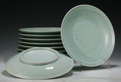 "Ten Chinese Celadon Glazed Porcelain Plates; Size: D: 11"""