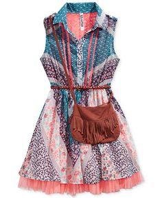 Beautees 2-Pc. Chiffon Shirt Dress & Purse Set, Big Girls (7-16)  | macys.com