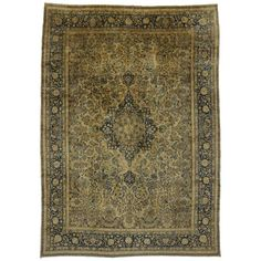 Antique Persian Kerman with Hollywood Regency Style | From a unique collection of antique and modern persian rugs at https://www.1stdibs.com/furniture/rugs-carpets/persian-rugs/
