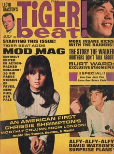 Chrissie Shrimpton on the cover of Tiger Beat, July 1966. Chrissie Shrimpton was a 1960s English model and actress. She is the younger sister of model Jean Shrimpton and was the girlfriend of Mick Jagger from 1963 to 1966.