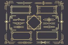 Ad: Art deco border frame divider by Tartila on Art Deco design elements collection, vector frames, borders, corners and backgrounds for trendy cards --- This Art Deco collection is Estilo Art Deco, Arte Art Deco, Moda Art Deco, 1920s Art Deco, Deco Elephant, Line Art, Watercolor Clipart, Art Deco Borders, Bronze Art