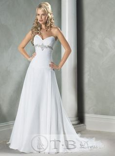 Sweetheart Strapless Wedding Dresses Ivory Sweeping Train A Line