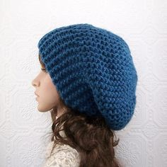 Hand knit slouch hat - denim blue - ready to ship -  winter fashion - women's accessories by Sandy Coastal Designs