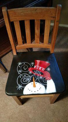 Christmas Craft Show, Christmas Chair, Christmas Wood Crafts, Christmas Items, Christmas Projects, Holiday Crafts, Handpainted Christmas Ornaments, Snowman Christmas Decorations, Whimsical Christmas