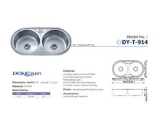 Dongyuan - 35 inch #304 Stainless Steel 18 Gauge Double Bowls 50/50 drop in Kitchen Sink