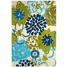 """Catalina Cove Flower Rug  blue/green. 60""""W x 90""""L  Polypropylene for indoor/covered outdoor use.  Pier 1 Imports. Online."""