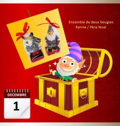 Lot du 1 décembre 2013 : Ensemble de deux bougies Renne / Père Noel