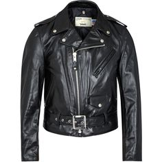 Schott NYC 618 Perfecto black leather biker jacket ($1,055) ❤ liked on Polyvore featuring men's fashion, men's clothing, men's outerwear, men's jackets, mens leather motorcycle jacket, mens leather biker jacket, mens leather jackets and mens leather moto jacket