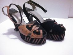Ostrich and Suede 1940s Peep Toe Platform Heels / 40s Shoes / 40s Heels / Rockabilly Heels by GlitterNGoldVintage on Etsy