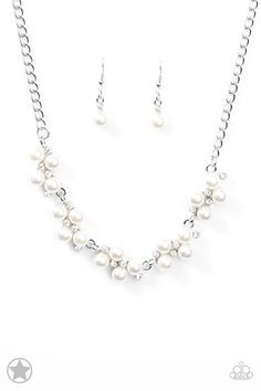 $5 Love Story - Silver Necklace with Matching Earrings - Available While Supplies Last #paparazziaccessories