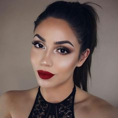 50 Trendy Makeup Looks With Red Lipstick For You - Page 14 of 50 Trendy Make-up sieht mit rote Red Lip Makeup, Makeup For Brown Eyes, Love Makeup, Simple Makeup, Makeup Lipstick, Hair Makeup, Makeup For Red Dress, Brown Eyeshadow, Stunning Makeup
