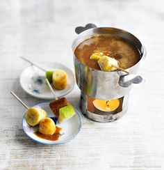 recette de fondue au chocolat et caramel.