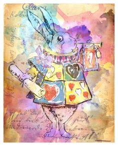 The White Rabbit  Fairytale Art  Alice in by TheGoldSparrow, $15.00