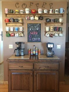 Create a DIY Coffee Bar in your home. Inspired by coffee shops, this DIY coffee bar is the perfect addition to any coffee lover's home. Click through to see how to build it plus, free plans to build your own just like this one! Kitchen Decor, Coffee Bar Home, New Kitchen, Decor, Bars For Home, Coffee Kitchen, Diy Home Decor, Kitchen Remodel, Home Decor