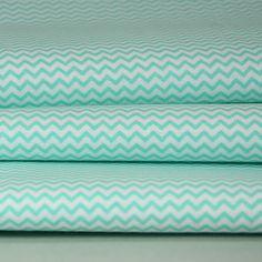 tissu imprimé 100% coton mini chevrons bleu vert - mint sur fond blanc