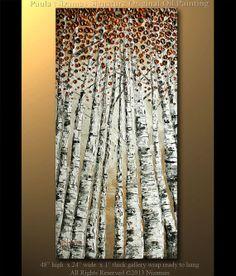 "Original Birch Oil Painting Modern Oil Painting Birch Trees in Autumn Palette Knife Landscape from Nizamas 48"" x 24"" on Etsy, $360.00"