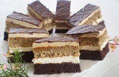 Eléggé sok minden kell hozzá, de nagy adag süteményt kapunk, szép magas szeletekkel. Hozzávalók:a kakaós laphoz:7 tojás14 dkg porcukor10 dkg finom...