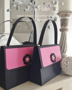 BIG Handbag Gift Bag. Stampin Up. #bighandbag #bigbagtutorial #lindaparker #papercraftwithcrafty