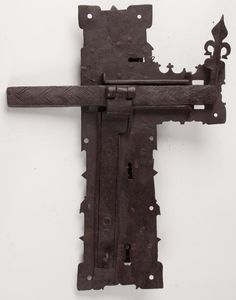 "WROUGHT-IRON TRIPLE-KEY DOOR LOCK 17"" X13"". 17th/18th Century."