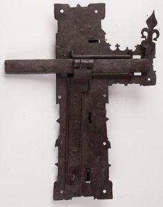 "WROUGHT-IRON TRIPLE-KEY DOOR LOCK 17"" X13"". 17th/18th Century."