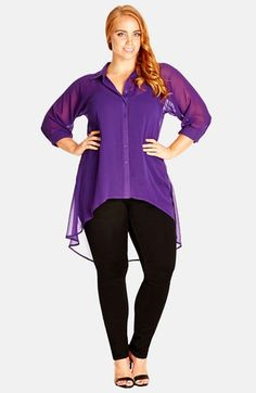 City Chic Open Back High/Low Tunic Shirt (Plus Size) | Nordstrom