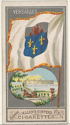 Versailles, from the City Flags series (N6) for Allen & Ginter Cigarettes Brands, 1887. American. The Metropolitan Museum of Art, New York. The Jefferson R. Burdick Collection, Gift of Jefferson R. Burdick (63.350.201.6.11)