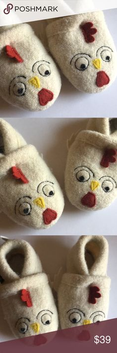 """🐥 Baby Boy Girl Chicken Boiled Wool Slippers Shoe Brand new! In the signature bag. Size 2. A little over 5"""" long Garnet Hill Shoes Slippers"""