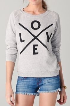 DIY Inspiration: $114 (sold out) Zoe Karssen Love Sweatshirt here. Beyond easy DIY using iron-on letters or freezer paper/contact paper stencils.