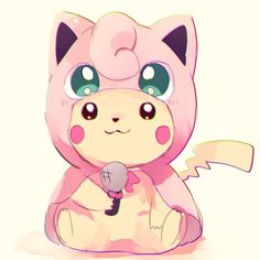 Pikachu dressed as Jigglypuff