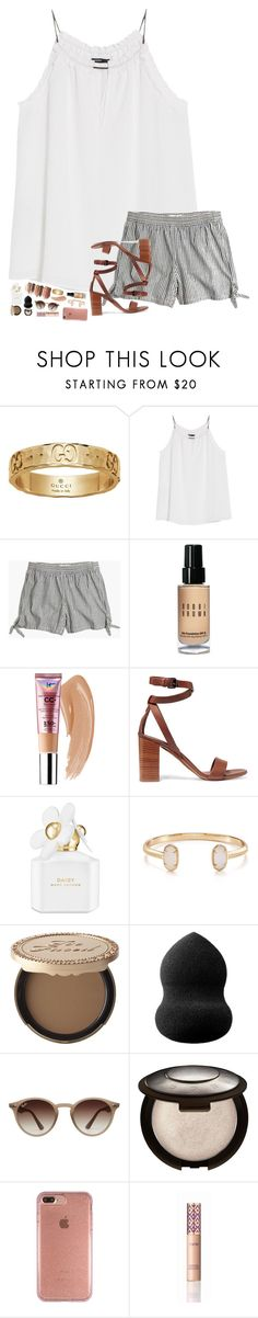 """""""summa summa summa """" by hopemarlee ❤ liked on Polyvore featuring Gucci, tarte, MANGO, Madewell, Bobbi Brown Cosmetics, Vince, Marc Jacobs, Kendra Scott, Too Faced Cosmetics and blacklUp"""