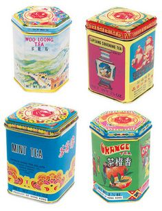tea, tea tins, Chinese, chinese tea tins, vintage tea tins, colorful tea tins
