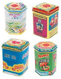 tea, tea tins, Chinese, chinese tea tins, vintage tea tins, colorful tea tins