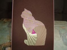 Iris Folding Cat done in pink w/cream and by DeesGreetingCards, $4.50