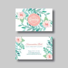 Scentsy Business Card (Floral 2.0) - Digital Design by BellGraphicDesigns on Etsy https://www.etsy.com/au/listing/398481053/scentsy-business-card-floral-20-digital