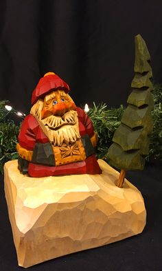 Hand Carved Wooden Santa in Traditional Red by RusticRoadStudio
