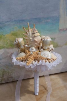 Bridesmaid Bridal Seashell Wedding Bouquet by HeartoftheOceanSSB, $77.00