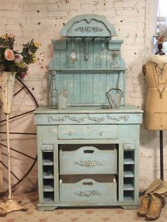 Painted Cottage Chic Shabby Aqua Romantic French Farmhouse Wine Cabinet CC28