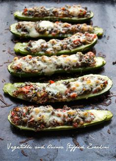 Vegetable and Quinoa Stuffed Zucchini-super easy healthy dinner you can make ahead of time. Incredibly delicious! To keep this vegan, omit the cheese or use vegan cheese shreds. Taste Love and Nourish