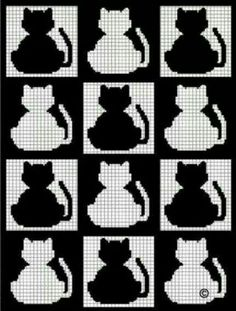 Cat cats kitties crochet afhgan cross stitch pattern graph chart - Collage - Before and After Filet Crochet, Crochet Afghans, C2c Crochet, Crochet Cross, Tapestry Crochet, Crochet Chart, Crochet Stitches, Crochet Bags, Irish Crochet