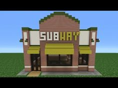 Easy Houses To Build In Minecraft Pe Minecraft Tutorial How To Make A Subway Restaurant Of Easy Houses To Build In Minecraft Pe Minecraft Stores, Minecraft Restaurant, Minecraft Ideas, Minecraft How To Build, Minecraft Stuff, Mcdonald's Restaurant, Cool Minecraft Creations, Minecraft House Tutorials, Minecraft Crafts