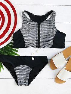 Black And White Printed Zipper Up Racer Back Bikini Set
