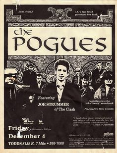 The Pogues featuring Joe Strummer Country Music Quotes, Country Music Lyrics, Music Flyer, Music Icon, Rock Posters, Concert Posters, Pop Rock, Rock And Roll, The Pogues