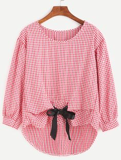SheIn offers Gingham Plaid Bow Tie High Low Blouse & more to fit your fashionable needs. Look Fashion, Hijab Fashion, Fashion Dresses, City Fashion, Linen Dresses, Red Blouses, Long Sleeve Tops, Long Tops, Casual Outfits