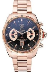 replica tag heuer grand carrera black dial rose gold case mens watch