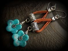 Rustic, Flowers, Czech Glass, tibetan Silver, Leather, Hoop Beaded Earrings by YuccaBloom on Etsy